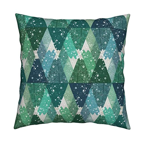 Mountain Throw Pillow Alpine Snowy Mountains by clairecalinadesigns snowboard 18x18 Square Throw Pillow