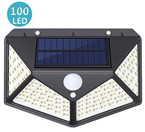 Solarlampen für Außen mit Bewegungsmelder, SUNZOS 100 LED Solarleuchten Aussen, 270° Beleuchtungswinkel, Superhell 1800mAh, IP65 Wasserdicht, 3 Modi, Solarlampe Wandleuchte Garten (1 Stück)