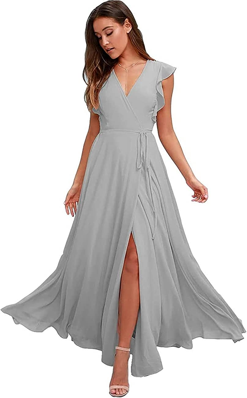 COOYINOM Women's V Neck Long Bridesmaid Dress with Slit Floor Length Chiffon Formal Evening Gown