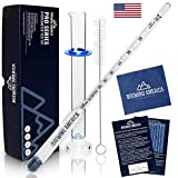 Hydrometer Alcohol Meter Test Kit: Distilled Alcohol American-Made 0-200 Proof Pro Series Traceable Alcoholmeter Tester Set with Glass Jar for Proofing Distilled Spirits