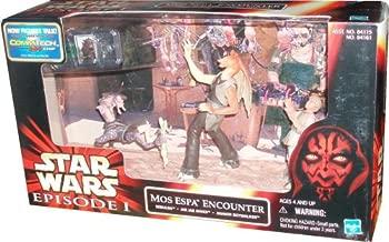 Star Wars Episode 1 The Phantom Menace Movie Scene Action Figure Playset - Mos Espa Encounter with Sebulba, Jar Jar Binks and Anakin Skywalker Figure Plus CommTech Chip and Display Base