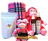 Wolfe & Sparky Gift Boxed Deluxe Pink Dog Gift Set Includes a Classy Dog Blanket, 2 Bottles of Wolfe & Sparky Natural Grooming Products, Healthy Peanut Butter Dog Treats, and 2 Toys!!!
