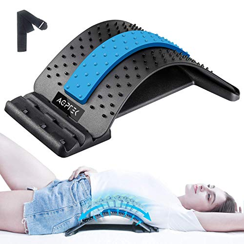 Back Stretcher for Pain Relief, AGPTEK Lumbar Support Lower Back Stretching Device Adjustable 3 Level Back Massager for Back Pain Relief, Herniated Disc, Sciatica, Scoliosis