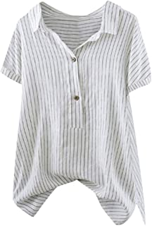 SADUORHAPPY Women Button Up Pullover Striped Top T Shirt Plus Size Three Quarter Flare Sleeve Tunic Blouse