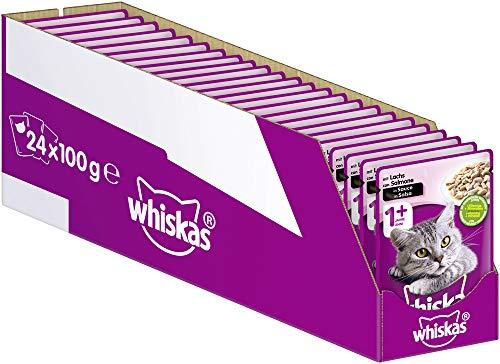 Whiskas 1 + Katzenfutter – Lachs in Sauce – Hochwertiges Nassfutter für ausgewachsene Katzen – 24 Beutel à 100g
