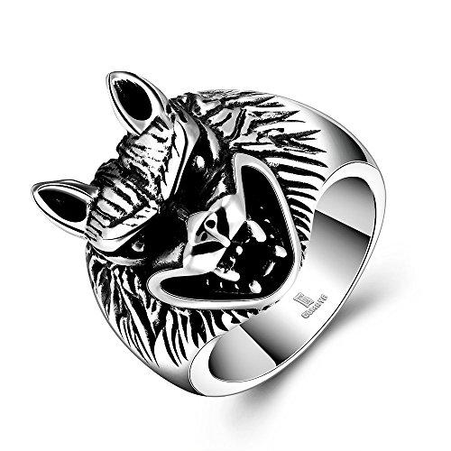 LAMUCH Jahrgang Maya Edelstahl Tier Wolf Kopf Schablonen Silber überzogene Ringe für Herren