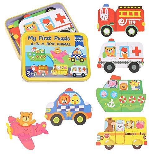 Vehículos rompecabezas de madera - rompecabezas juguetes educativos del sistema, aprendizaje educativo y sensorial para niños pequeños juguete regalos de cumpleaños, juego de 6 con una caja colorida