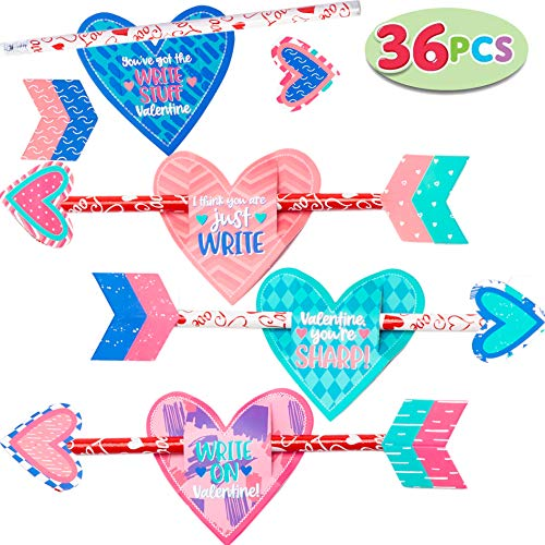 Cheap JOYIN 36 pack Valentines Day Gift Cards with Gift Cupid's Arrow Pencil Set for Valentine Class...