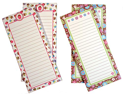 Creative Hobbies Magnetic Memo Note Pads, 60 Sheets Per Pad, 8 inch x 3.5 Inch, 3 Each of 2 Fun Girl Designs - Total of 6 Pads (Set 2)