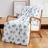 Cozy Bliss Luxury Super Soft Faux Fur Throw Blanket Knit Look for Couch, 50'x60'Grey Marl, Warm Milky Plush Blanket for Sofa Bed Living Room Bedroom (Knit-Grey Marl)