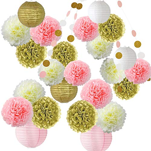 HONESTY 26 Pcs Pink Gold Pom Poms Flower And Paper Lanterns Party Decoration For Wedding Party Baby Party Even All Party Supplies 3 Bright Colors 3 Sizes