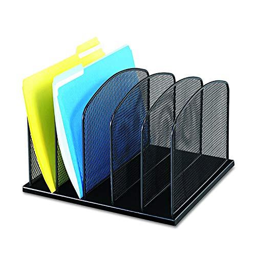 Safco Products Onyx Malha 5 Sort Organizador de mesa vertical 3256BL, acabamento em pó preto, estrutura de malha de aço durável