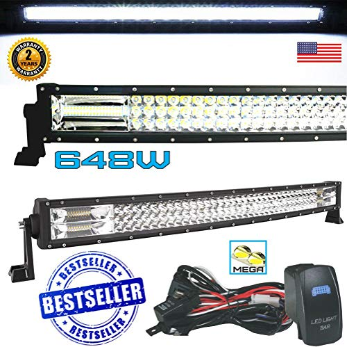 No.1 42' Curved Pro Tri-Row Led Light Bar 648w 64,800LM 7D Spot Flood Combo Beam for Off Road Jeep ATV AWD SUV 4WD 4x4 RZR CanAm