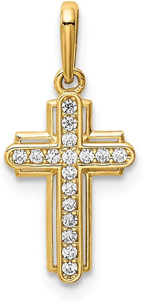 Solid 14k Yellow Gold Cross CZ Cubic Zirconia Pendant Charm