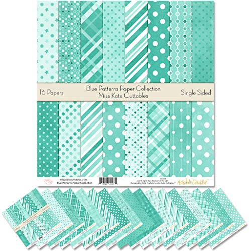 Pattern Paper Pack - Blue Patterns - Scrapbook Premium Specialty Paper Single-Sided 12'x12' Collection Includes 16 Sheets - by Miss Kate Cuttables