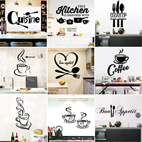 Wall Sticker Kitchen Wall Decals Removable Vinyl Decal Art Mural Home Decor DIY Sticker for Kitchen Decorative,Set of 9