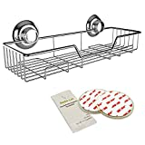 Gecko-Loc Shampoo Conditioner Holder Shower Caddy Wide Storage Basket and Shelf Stainless Steel w Vacuum Suction Cup - Chrome - Adhesive DISKS Now Include