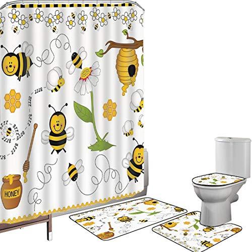Duschvorhang Set Badezimmerzubehör Teppich Collage-Dekor Badematte Contour Teppich Teppichbezug Fliegen-Bienen Daisy Honey Chamomile Flowers Pollen Spring Animal Print,gelbes weißes Schwarzes Rutschfe
