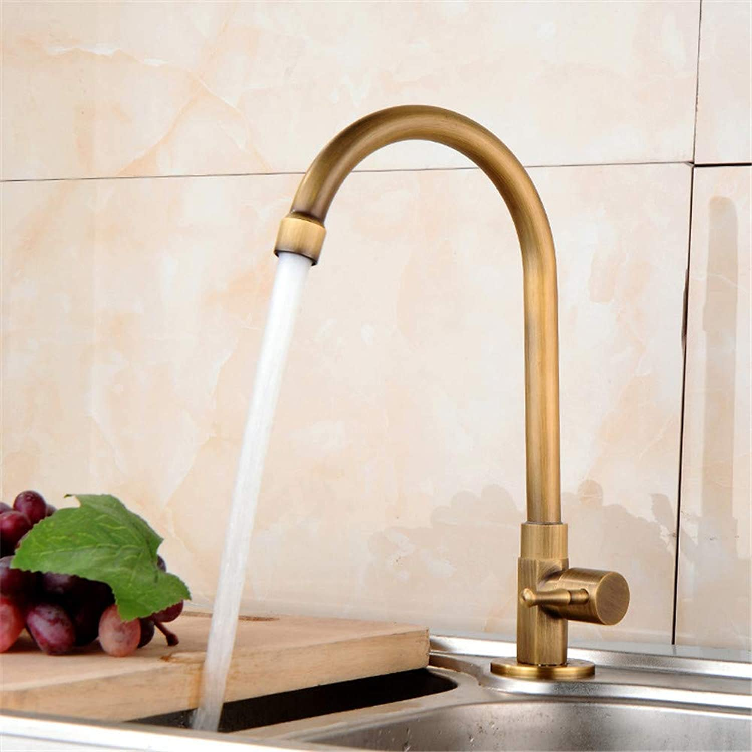 Oudan Antique Kitchen Faucet Full Copper Single Cold Faucet Joint redatably Vegetables Basin Sink Faucet Wash Basin (color   -, Size   -)
