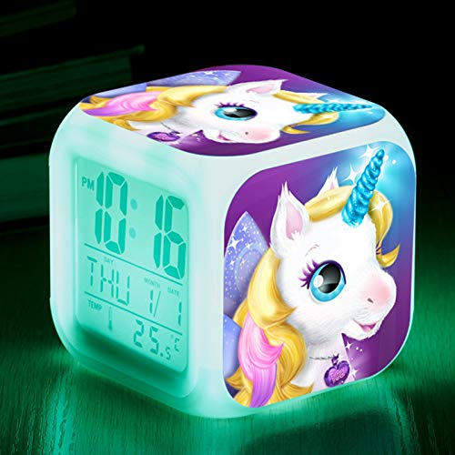 RAILONCH Einhorn Wecker für Mädchen, Digitaler Wecker mit LED Nacht, beleuchtetes Kindertagsgeschenk für Kinder Jungen und Mädchen (006)