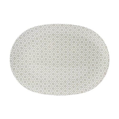 Cartaffini – Plato ovalado Miele Crudo – de melamina con decoración de tejido auténtico (Bees) – 34,8 x 24,7 cm