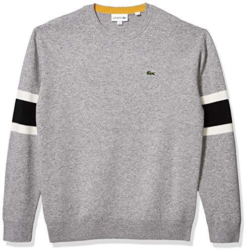Lacoste Mens Long Sleeve Fancy Stitch 90S Logo Sweater Sweater, Silver Heathered/Black/Flour/Darjali, XXL