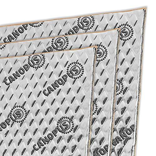 CANOPUS Car Sound Deadening Mat, 80 mil 10 sqft, Pack of 10 Sheets, Butyl Sound Deadener Mat, Audio Car Sound Dampening Material for Car Trunk, Door, Floor and Ceiling, Silver