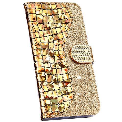 Ysimee Compatible avec Samsung Galaxy A20e Coque Paillette Brillante Bling en Cuir Epissure Etui avec [Fentes pour Cartes][Magnétique][Fonction Support]Housse Couverture Folio à Rabat Wallet Case,Or