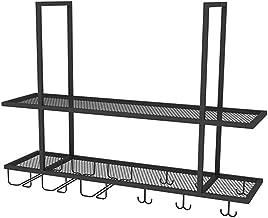 Industriële plank, deken, rek + bagageglas, ijzer, zwart, geschikt voor restaurant/bar/household (kleur: 80 x 30 x 80 cm)