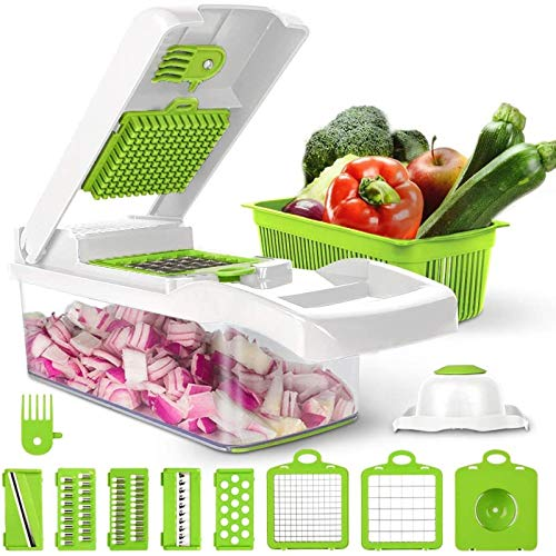 LICIN Vegetable Chopper,12 In 1 Multi-Function Kitchen Veg Cutter With Food Container & Cleaning Brush, For Onion, Garlic, Cabbage, Carrot, Potato, Tomato, Fruit, Salad,Egg Separator. White