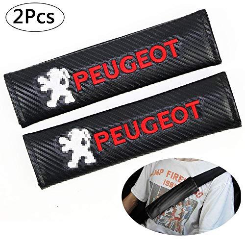 ZHCOM 2 Stück Carbon-Faser-Sicherheitsgurt-Abdeckung Schulterpolster-Kissen,Auto Sicherheitsgurt Schulter-Pads Gurtpolster für Peugeot All Models