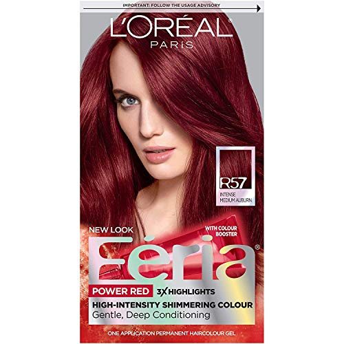 L'Oreal Paris Feria Multi-Faceted Shimmering Permanent Hair Color, R57 Cherry Crush (Intense Medium Auburn), Pack of 1, Hair Dye