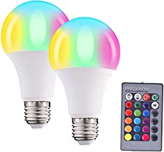 LED Bulb,LED Color Changing Light Bulb with Remote Control,10W,E26 Base,RGB+W, 16 Different Color Choices Smooth Flash or ...