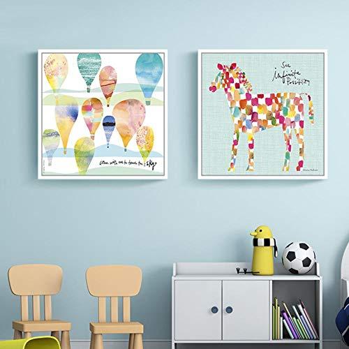 kldfig cartoon abstract schilderij ballon gevlekt paard poster Scandinavische stijl muurkunst canvasdruk moderne afbeeldingen woonkamer decoratie - 40x40cmx2 niet ingelijst
