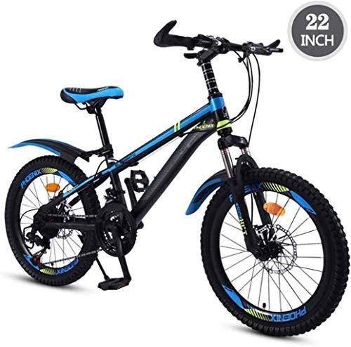 QZ Kinderfahrrad 22-Zoll-Variable Speed Mountainbike, bequemer Sattel, rutschfestes Pedal, Federgabel, sicher und einfühlsam Brems (Color : B)
