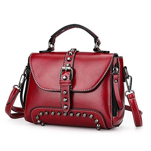 Lazzboy Bag Handtasche Retro Damen Nieten Leder Schultertaschen mit Crossbody (Rot)