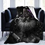 Manta para niños Wicca Black Pet Cat Wiccan Pagan Cute Flannel Fluffy Full Fleece Throw Blanket Queen King Size Edredón Felpa Suave y Acogedor Edredón Ropa de Cama para guardería Decoración Decoracio