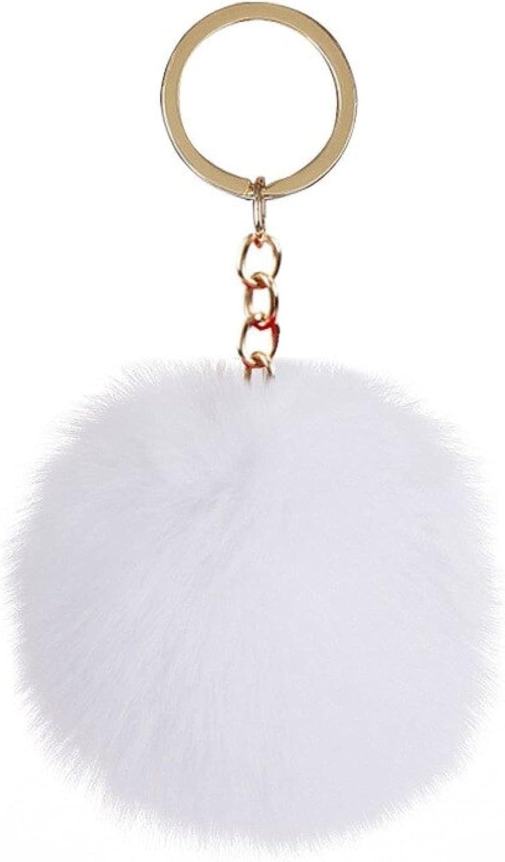 TRANTRANG Fluffy Fur Pom Pom Keychain Soft Faux Rabbit Fur Ball Car Keyring Pompom Key Women Bag Pendant Jewelry Gifts