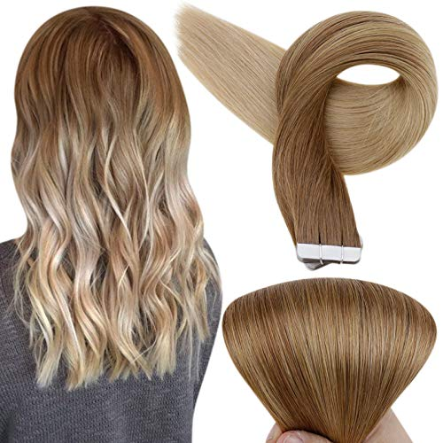 Fshine 14 Inch Tape in Human Hair Extensions Balayage Color 10 Brown Fading to 14 Golden Blonde Seamless Pu Tape in Hair Extensions For Short Hair Brazilian Hair Tape in Extensions 20 Pcs 50 Grams