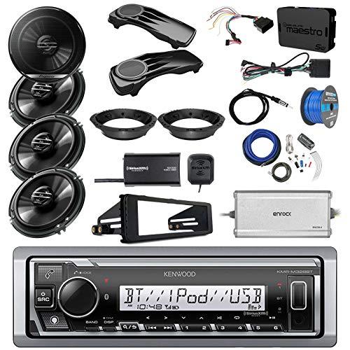 "Kenwood Marine Bluetooth Radio, 4X Pioneer 6.5"" Speakers, Bag Covers, Adapters, 4-Ch. Amplifier, Amp Kit, Wiring Kit, Enock Harley Dash Kit, Antenna, 16-G 50 Ft Tinned Wire (Select '98-'13 Harleys)"