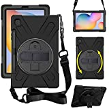 ZenRich Galaxy Tab S6 Lite Case 10.4', SM-P610/P615 Case with S Pen Holder zenrich Shockproof Rugged Case with Stand Hand Strap and Shoulder Belt for Galaxy Tab S6 Lite 10.4 inch 2020-Black