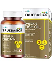 TrueBasics Omega-3 Fish Oil Triple Strength with 1250mg of Omega (560mg EPA & 400mg DHA) for Healthy Heart, Eye & Joints - 60 Softgels (Fish Oil- 60 Capsules)