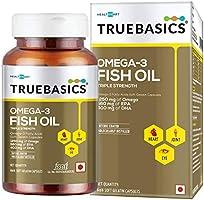 TrueBasics Omega-3 Fish Oil Triple Strength with 1250mg of Omega (560mg EPA & 400mg DHA) for Healthy Heart, Eye & Joints...