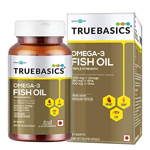 TrueBasics Omega 3 Fish Oil Capsules Triple Strength with 1250mg of Omega (560mg EPA & 400mg DHA) for Healthy Heart, Eye & Joints (60 Omega 3 Fish Oil Capsules )