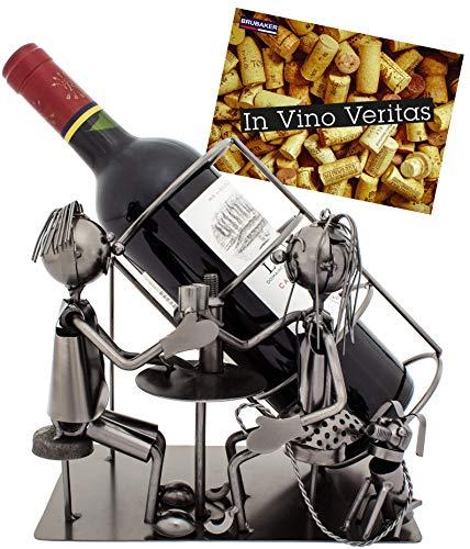 BRUBAKER Portabotellas de vino para dos - escultura de metal con tarjeta de felicitación