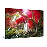 Startonight Cuadro Moderno en Lienzo - Árbol Rojo y Cascada - Pintura Paisaje para Salon Decoración 60 x 90 cm