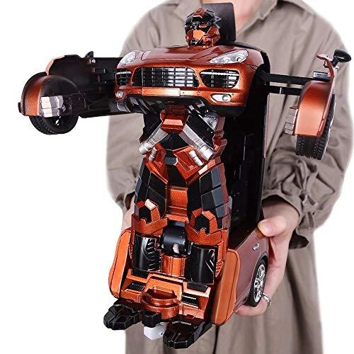 Poooc Coche de control remoto de transformador de 2.4 GHz modelo Toy -  Auto Bot RC Drifting Car & Robot -  Luces de efectos de sonido -  One Touch Transform Radio recargable con control remoto RC,  Naran