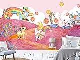 Fotomurales 3D Caramelo De Unicornio Acuarela Fotográfico Mural Papel Pintado Salón Dormitorio Decoración de Paredes Wallpaper