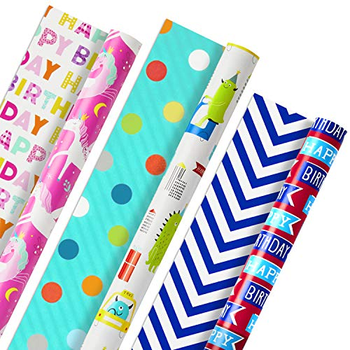 Hallmark Reversible Kids Birthday Wrapping Paper, Monsters and Unicorns (Pack of 3, 120 sq. ft. ttl.)