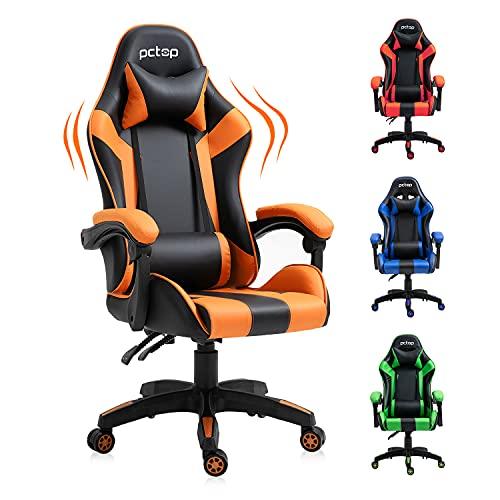 YAMASORO Gaming Stuhl Bürostuhl Ergonomischer Gamer Stuhl mit Kopfstütze und Lendenkissen, höhenverstellbar Schreibtischstuhl, bis 150 kg belastbar, 90-135° Neigungswinkel Drehstuhl (Schwarz-Orange)